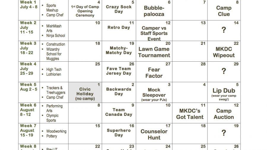 2016 Summer Camp Calendar
